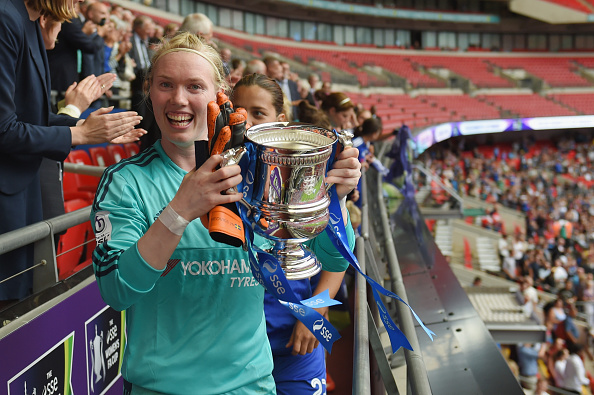 LONDON, ENGLAND - AUGUST 01:  Hedvig Lindahl of Chelsea celebrates with the trophy after the FA Cup Final match between Chelsea Ladies and Notts County Ladies at Wembley Stadium on August 1, 2015 in London, England.  (Photo by Michael Regan - The FA/The FA via Getty Images)