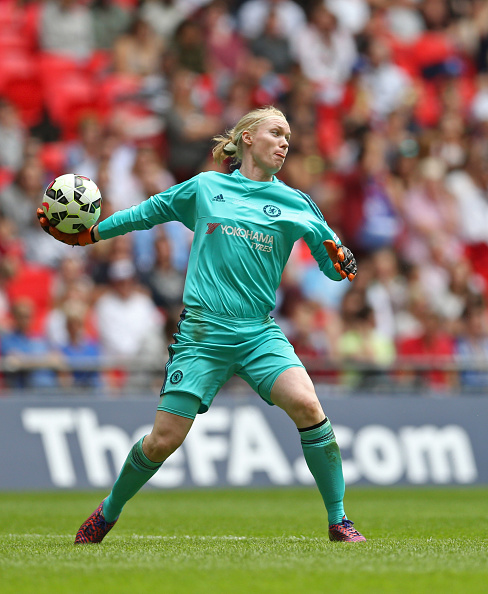 LONDON, ENGLAND - AUGUST 01: Hedvig Lindahl of Chelsea Ladies FC throws the ball out during the Women's FA Cup Final match between Chelsea Ladies FC and Notts County Ladies at Wembley Stadium on August 1, 2015 in London, England.  (Photo by Steve Bardens - The FA/The FA via Getty Images)