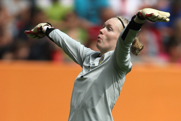 AUGSBURG, GERMANY - JULY 02:  Hedvig Lindahl of Sweden celebrates the 1-0 victory after the FIFA Women's World Cup 2011 Group C match between North Korea and Sweden at FIFA World Cup stadium Augsburg on July 2, 2011 in Augsburg, Germany.  (Photo by Christof Koepsel/Getty Images)