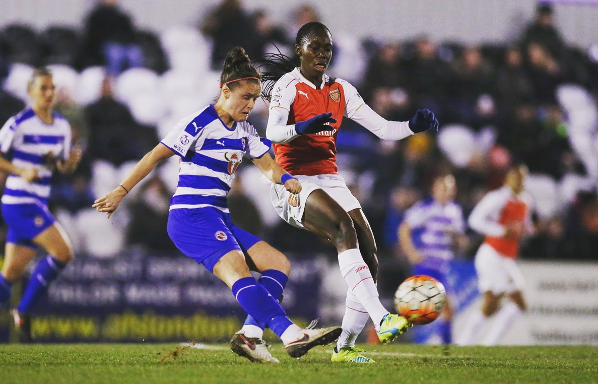 """""""BOREHAMWOOD, ENGLAND - MARCH 23:  Lois Roche of Reading and Asisat Oshoala of Arsenal during the FA WSL match between Arsenal Ladies FC and Reading Ladies FC on March 23, 2016 in Borehamwood, England.  (Photo by Alex Morton - The FA/The FA via Getty Images)"""""""
