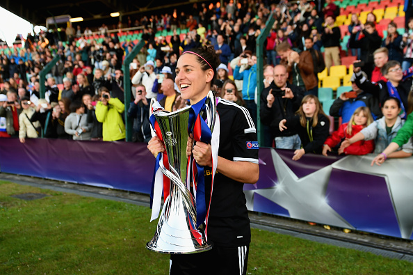 BERLIN, GERMANY - MAY 14:  Veronica Boquete of 1. FFC Frankfurt celebrates with the trophy after the UEFA Women's Champions League Final between 1. FFC Frankfurt and Paris St. Germain at Friedrich-Ludwig-Jahn Sportpark on May 14, 2015 in Berlin, Germany.  (Photo by Dennis Grombkowski/Bongarts/Getty Images)