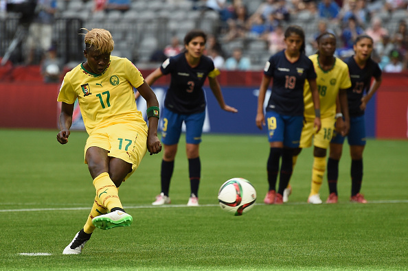 during the  FIFA Women's World Cup 2015 Group C match between Cameroon and Ecuador at BC Place Stadium on June 8, 2015 in Vancouver, Canada.
