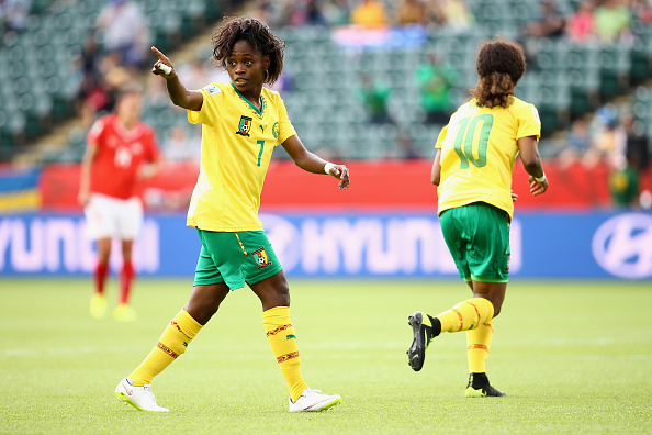 EDMONTON, AB - JUNE 16:  Gabrielle Onguene #7 of Cameroon celebrates her goal against Switzerland during the Women's World Cup 2015 Group C match at Commonwealth Stadium on June 16, 2015 in Edmonton, Alberta, Canada.  (Photo by Maddie Meyer - FIFA/FIFA via Getty Images)