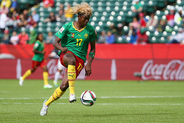 EDMONTON, AB - JUNE 20:  Gaelle Enganamouit #17 of Cameroon in action during the FIFA Women's World Cup 2015 Round of 16 match between China PR and Cameroon at Commonwealth Stadium on June 20, 2015 in Edmonton, Alberta, Canada.  (Photo by Maddie Meyer - FIFA/FIFA via Getty Images)